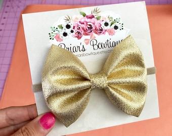 Baby Girl Headband Nylon Headband Glitter Bow Red /& Gold Glitter Bow Headband Baby Headband Baby Hairbow Infant Headband Bow Headband