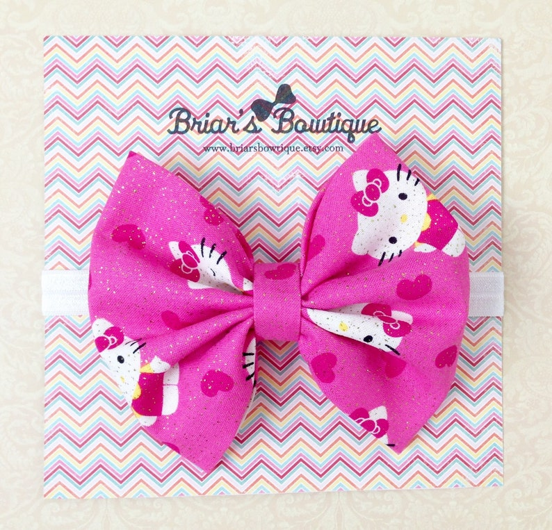 816307fc9 Hello Kitty bow Pink Hello Kitty fabric bow Pink white and | Etsy