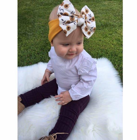 Serre-tête gros noeud   Turban imprimé floral arc turban   bandeau noeud  messy moutarde   Turban noeud disquette   turban de bébé   bébé, enfant ou  jeune ... f0ac101fc46