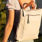Leather Backpack , Backpack Light Beige , Leather bag.  Leather Purse. Merak