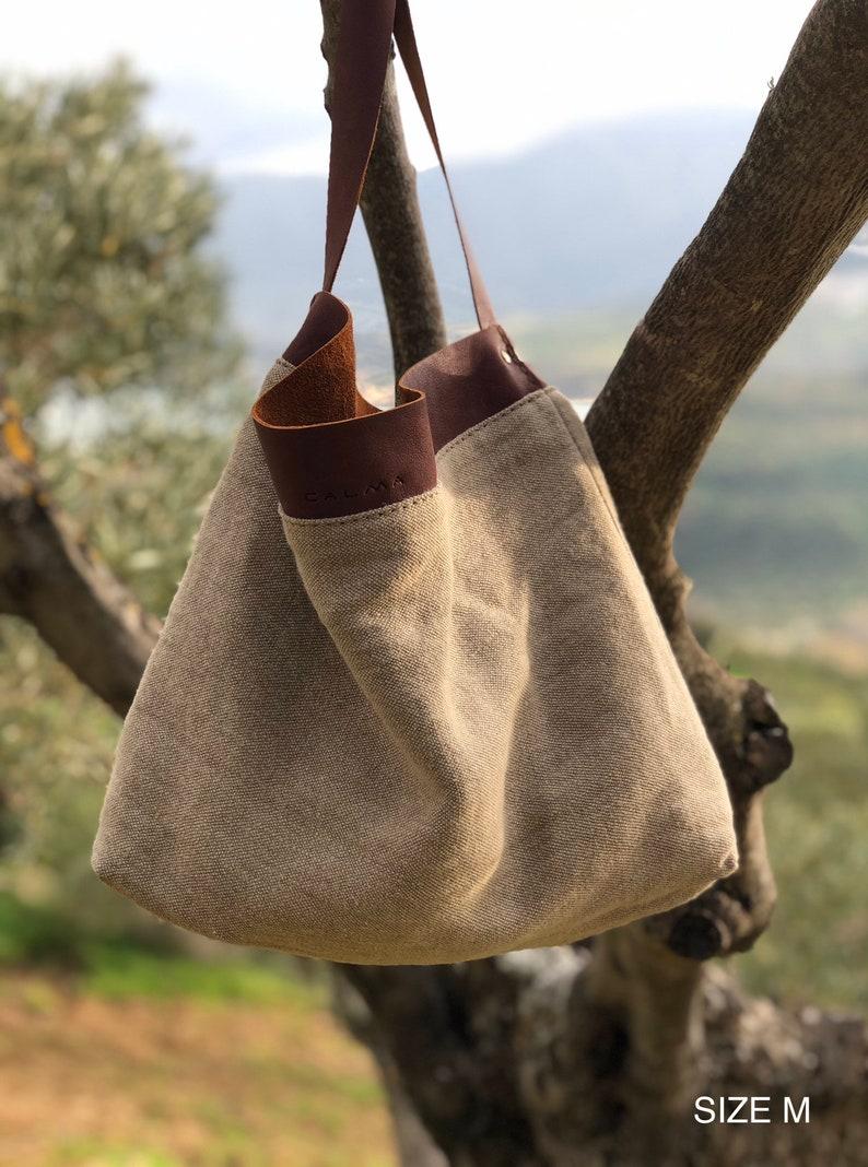 Linen and leather tote bag Shoulder bag Bolso de linoLinen bag-- SALE 40/% Off Tote bag Leather bag