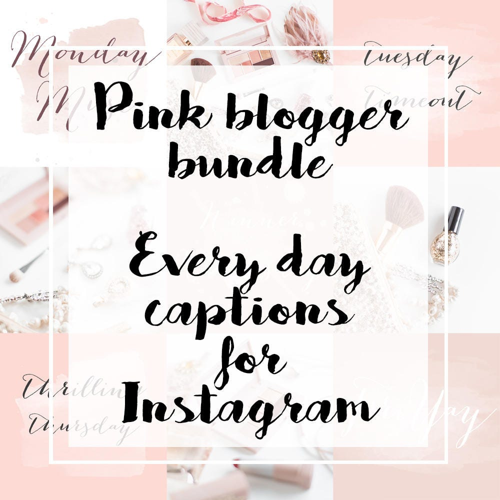 Pink Instagram Captions for Bloggers Every Day of the Week | Etsy