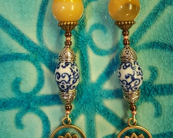 Ochre agate lotus earrings