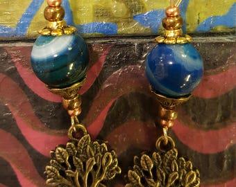 Ochre agate tree of life dangle earrings