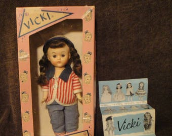 "Vintage Elite Creations Vicki the Walking Doll 8"" Walker Doll Gardener in Original Box"