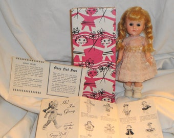 Vintage Vogue Bent Knee Walker Ginny Doll in Tagged Dress and Box with Booklet and Wrist Tag