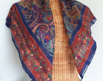 Liberty Style Patterned Cotton Scarf. Large, Bright Colour Purple Blue Green Head or Neck Shawl. Vintage Summer Autumn Fall Rust Orange
