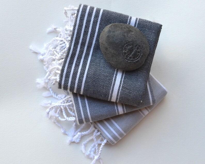 3 baby towels  Turkish Towel   tea towel  kitchen towel black gray slate gray  Small Turkish Blanket Housewarming Gift