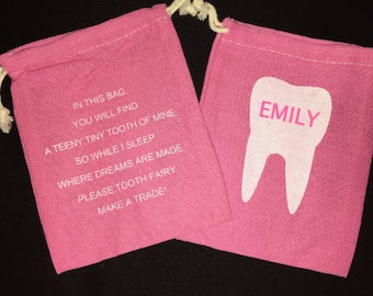 Tooth Fairy Bag, Tooth Fairy Pouch, Tooth Fairy Box, Personalized Bag,  Tooth Fairy Holder, Kid Tooth, Tooth Fairy Pillow