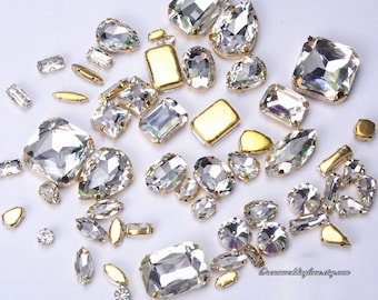 21b36e6b1022 Sew on Rhinestones beads gold setting --Crystal Clear Glass Teardrop Oval  Octagon Marquise Gold shadow Rhinestones settings