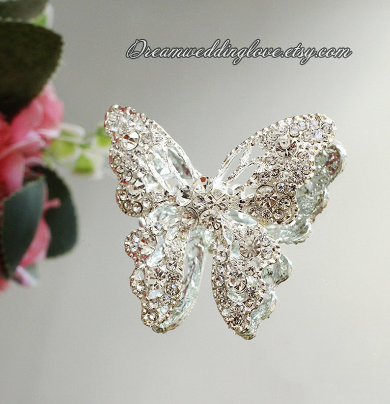 Crystal Butterfly Applique Shoe Clips Charm Sewing Craft Brooch Pin DIY