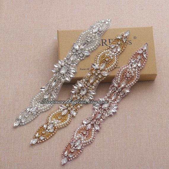 Sliver Rhinestone Crystal Beaded Applique for Wedding Bridal Sash Belt Headband