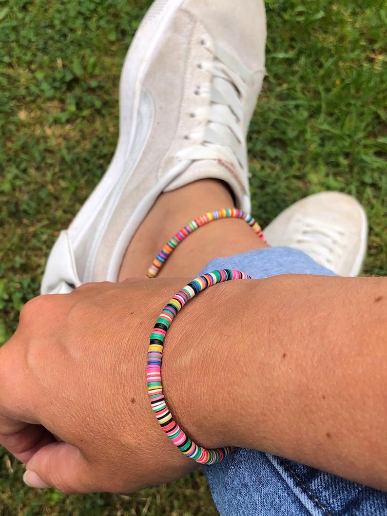 AnkletAnkle Bracelet and Bracelet Set Beach Surf Jewellery Multi Coloured Vinyl Disc Beads Boho Anklet and Bracelet African Vulcanite