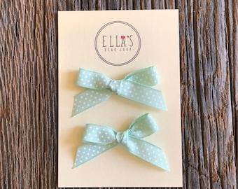 baby hair bows, toddler bows, girls bows,Mint and white polka dot hand tied ribbon bows
