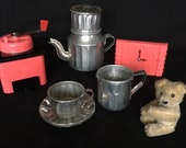 Vintage 1950s Childs Coffee Set, French Tea Set, Miniature Tea Set, La Dinette de Poulbot