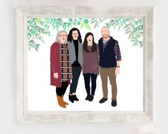 Custom Family Illustration Portrait - Printable Personalized Digital Illustration - Gift for Wedding, Mom, Anniversary or Christmas