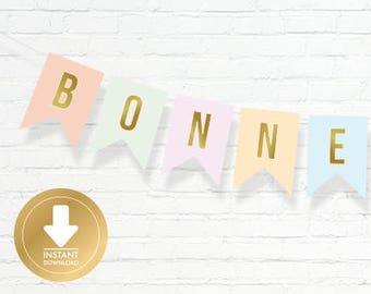 Bonne Fête Banner - Pastel Bunting Banner - French Banner - Bilingual - Instant Download