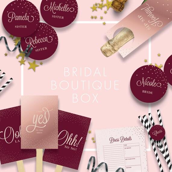 Merlot Rose Gold Bridal Boutique Box Wedding Dress Shopping Kit