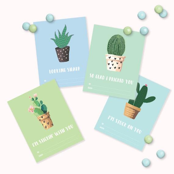 Cactus Valentines Day Cards - Printable Cacti Plant Kids Valentines