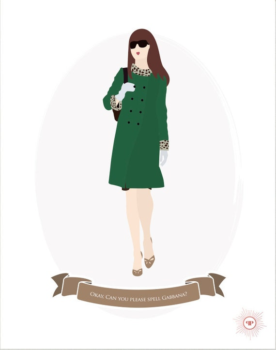 e0249e0662e28 Printable Custom Fashion Illustrations - Movie Print Poster - The Devil  Wears Prada - Andy Sachs - Instant Download