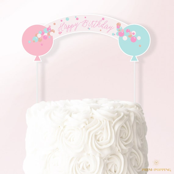 photo regarding Happy Birthday Cake Topper Printable identified as Pastel Balloons Cake Topper - Printable Cake Banner - Pleased Birthday Cake Topper - Birthday Get together Decor - Fast Obtain