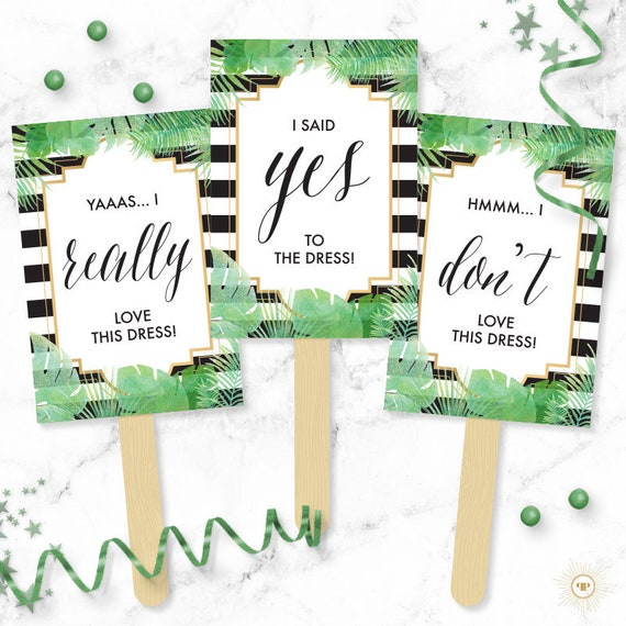 Instant Download Bridal Gown Game Say YES To The Dress Signs Clueless Inspired Printable I said Yes Wedding Dress Shopping Paddles