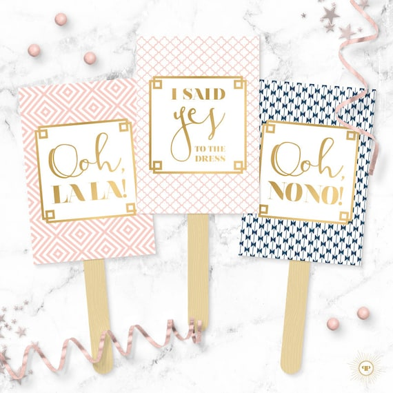 Patterns Say Yes To The Dress Paddles Wedding Dress Shopping Signs