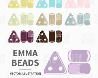 Clip Art Set of Emma Beads - Vector Illustration - Instant Download