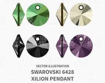 Vector Illustration of Swarovski 6428 Xilion Pendants - Beads Vector Graphics - Instant Download