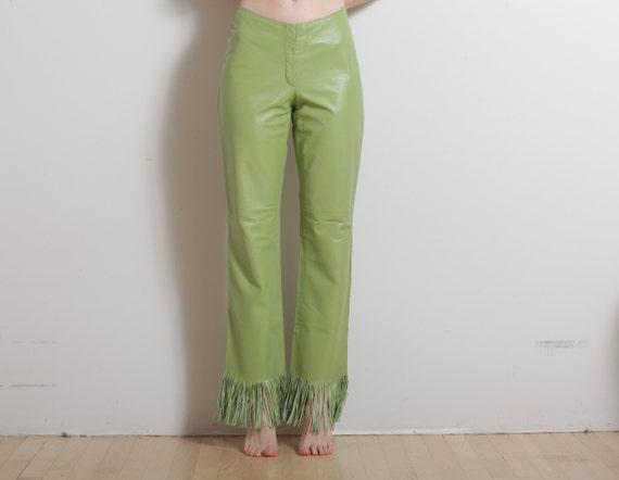 Leaf Lime Green Leather Fringe Bell Bottom Pants