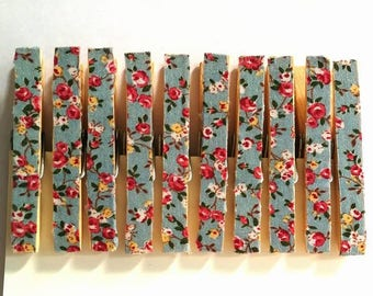 Floral Print Pegs - Stationery Pegs - Vintage Print Clothespin - Decorated Clothespins
