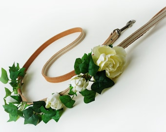 Leather dog leash,Wedding dog leash,Flower dog leash with satin ribbon