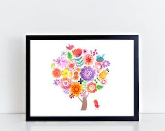 TREE WITH FLOWERS Canvas Art Wall Art Print With Bird Collage Birds Flowers Print Giclee Print Wall Decor Nursery Art Gift Canvas Botanical