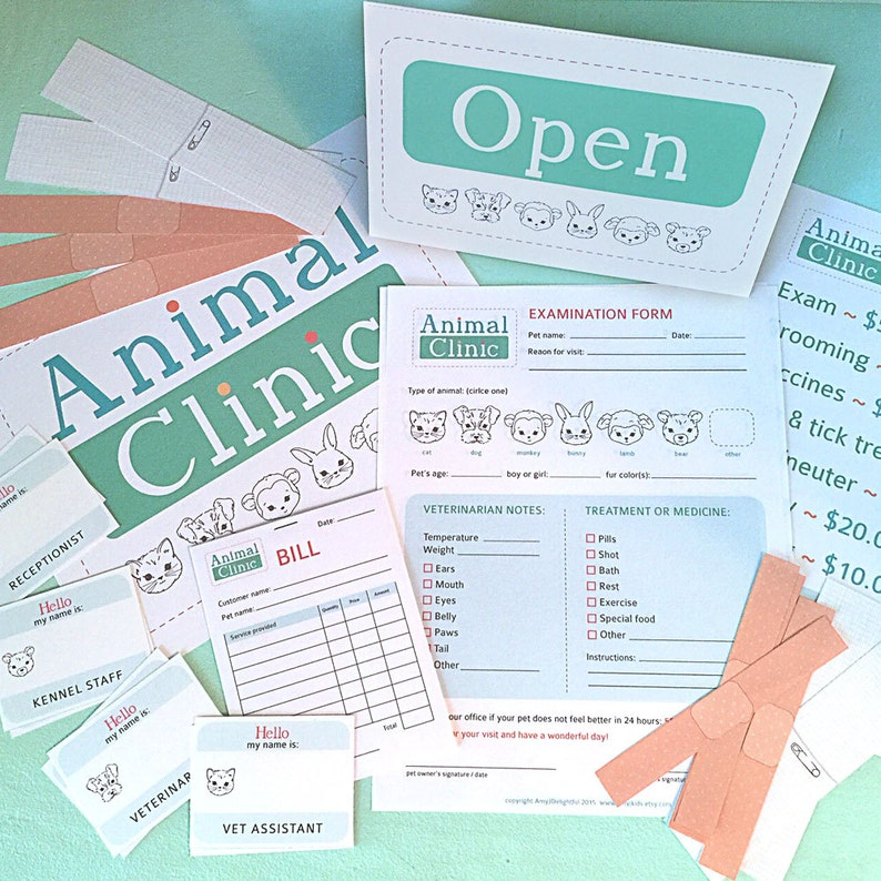 graphic regarding Printable Fake Vet Papers known as Faux Enjoy ANIMAL Healthcare facility Printables- Instantaneous PDF Obtain- evaluation sorts, bandages, signs and symptoms, track record tags, vet
