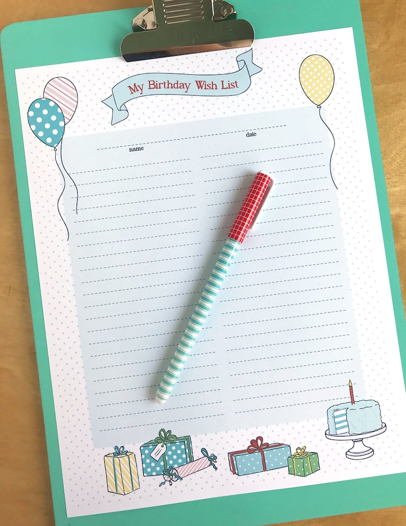 image about Wish List Printable named Birthday Desire Record Printable- Instantaneous PDF Obtain- young children magazine, background, memory e book, sbook, record, items, provides