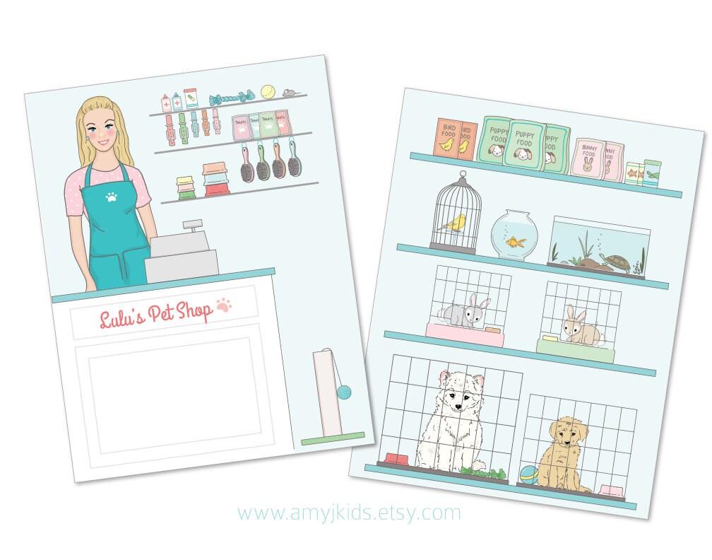 Printable Paper Doll PET SHOP play set pdf instant download | Etsy