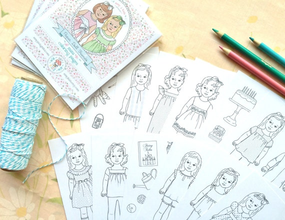 Paper Doll Friends MINI COLORING PAGES Digital File Instant | Etsy