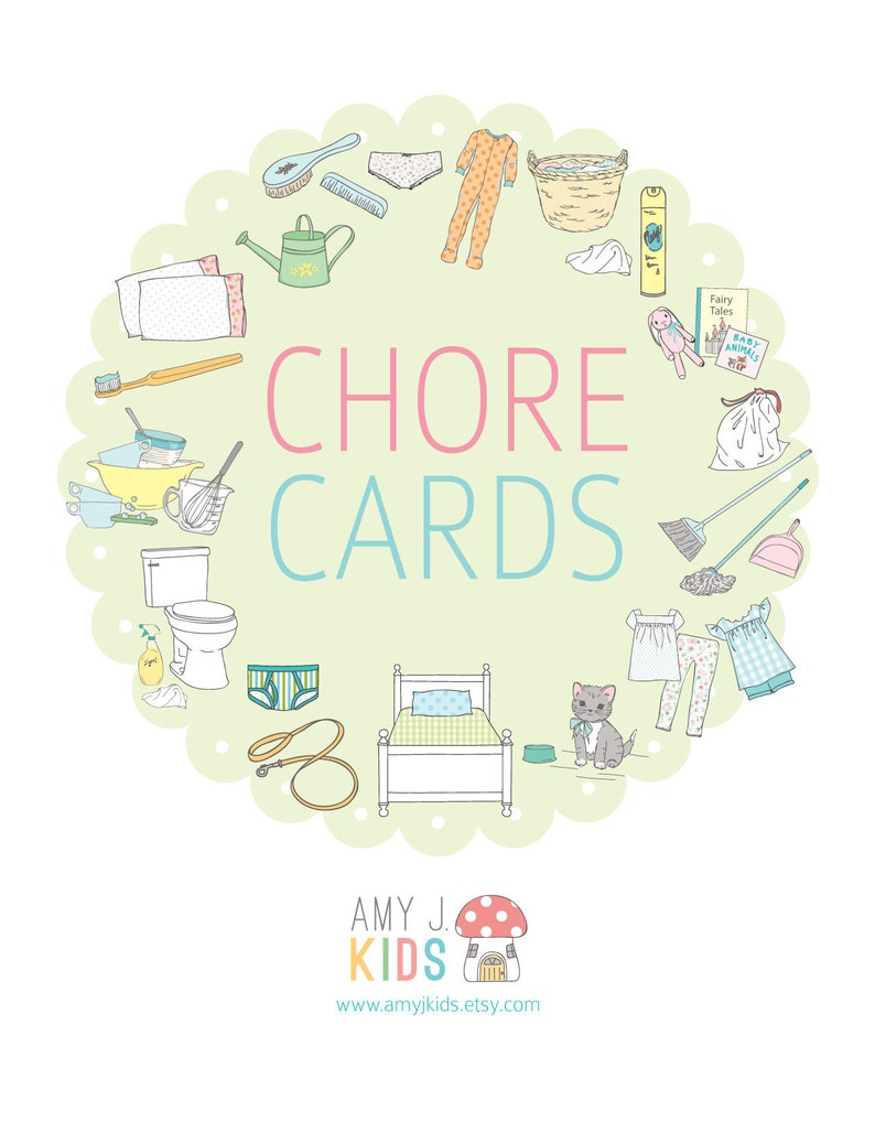 image regarding Printable Chore Cards named Childrens Printable CHORE Playing cards with no facts-Electronic Document Immediate Down load- Program Playing cards, day by day timetable, chore method, obligations