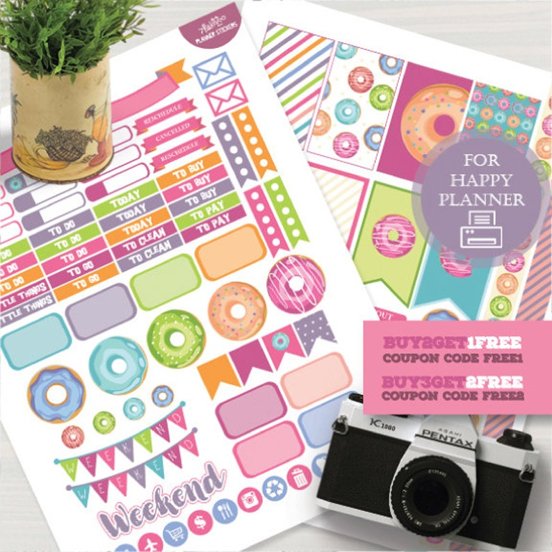 Happy Planner, Donuts Stickers, Donuts Planner Kit, Happy Planner Sweets,  Printable Stickers, MAMBI Donuts Planner Stickers, Weekly Kit