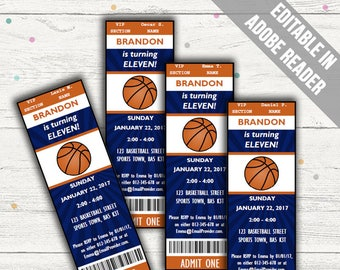 Basketball Party Invitations. Editable PDF. Printable. Instant Download.