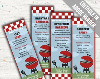 Printable Barbecue Party Invitations. Editable PDF. Printable. Instant Download.