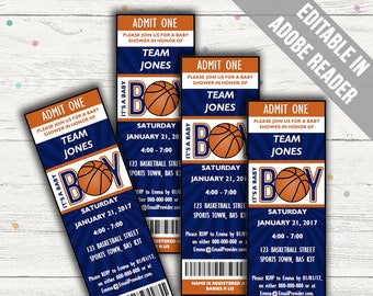 Basketball Baby Shower Invitations. Baby Boy Invites. Editable. Printable. Instant Download.