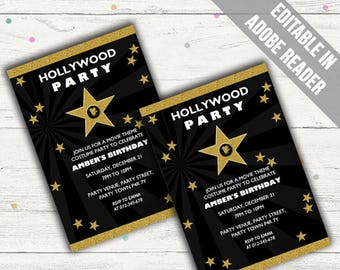 Hollywood Party Invitations Editable Pdf Printable Instant Etsy
