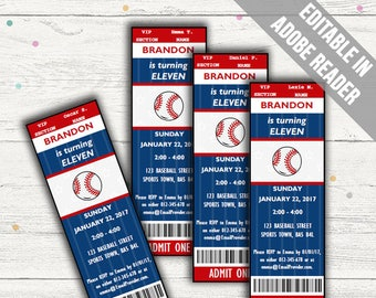 Baseball Party Invitations. Blue and Red. Editable PDF. Printable. Instant Download.
