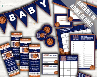 Basketball Baby Shower. Baby Boy. Includes Editable Baby Shower Invitations, Decorations and Games. Editable. Printable.