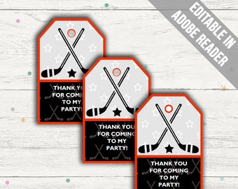 Hockey Party Favor Tags (Hockey Thank You Tags). Printable PDF (EDITABLE). Instant Download.