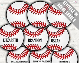 Baseball Tags (Baseball Party Decor/ Favor Tags). Printable PDF (EDITABLE). Instant Download.