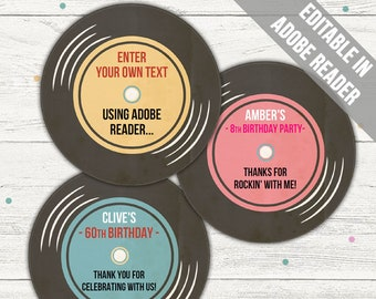 50/'s Party Vintage Favors 2 inch 45 Record 50+ Record Favors Anniversary Favors Record Party Favors Oldies Party Vintage Decor