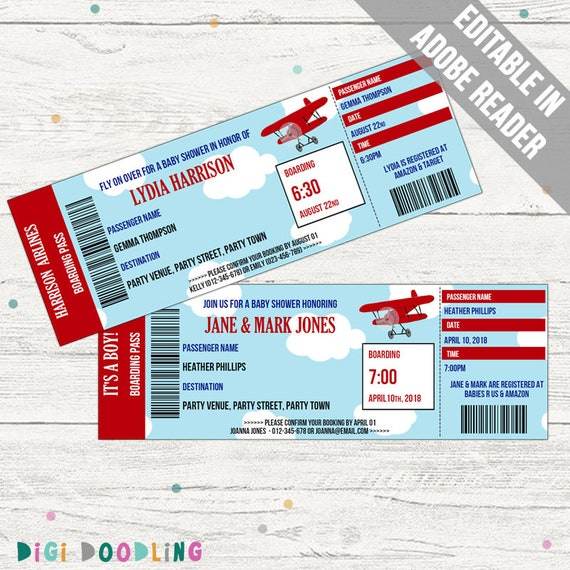 Plane Ticket Invitation Template Birthday Party Baby Showerinvitation Blue And Red Editable Pdf Instant Download