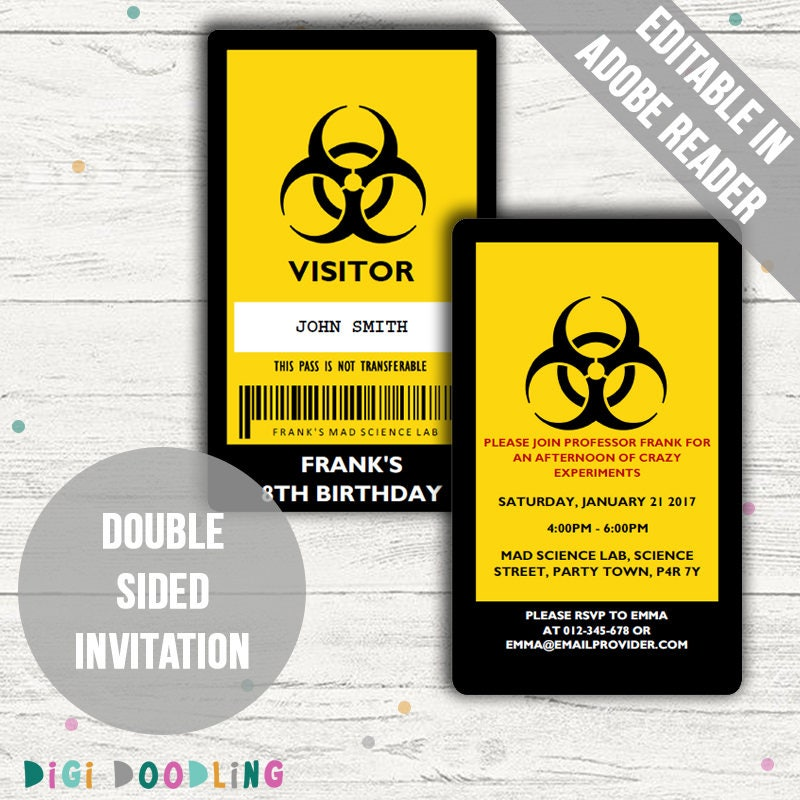 Mad Science Party Invitations. Science Party ID Badge Design.